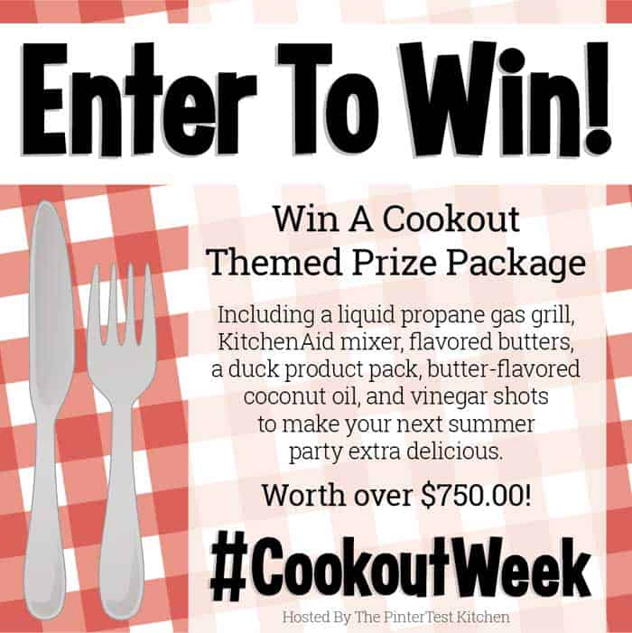 Join over 50 bloggers for #CookoutWeek 2018 bringing you the best cookout recipes from appetizers to dinners to desserts. And a huge giveaway prize! Perfect for the holidays ahead. #grilling #cookout #giveaway #dinners #desserts