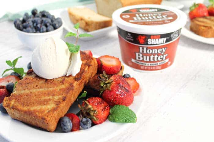 Grilled Cinnamon Sugar Sour Cream Pound Cake served wtih Chef Shamy butter