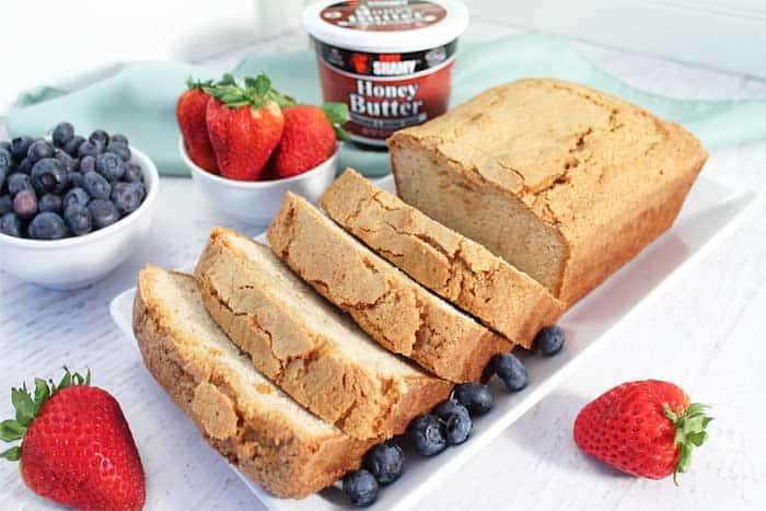Grilled Cinnamon Sugar Sour Cream Pound Cake sliced with Chef Shamy butter