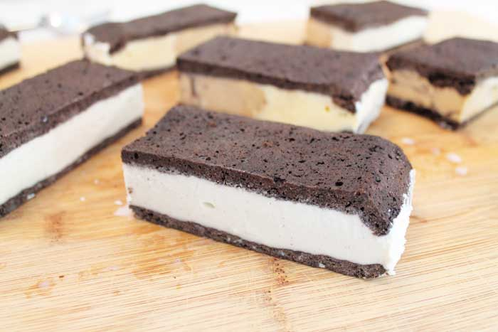 Homemade Ice Cream Sandwiches cut
