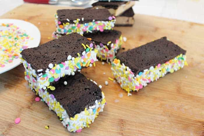 Homemade Ice Cream Sandwiches with sprinkles