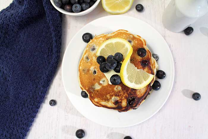 Lemon Blueberry Pancakes overhead