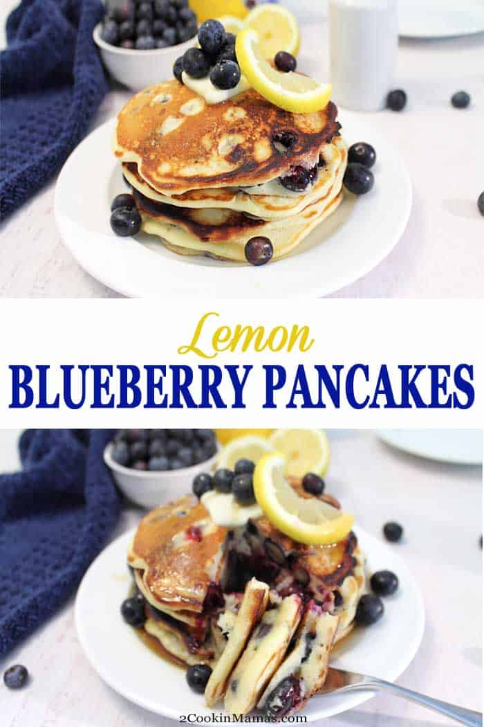 Lemon Blueberry Pancakes | 2 Cookin Mamas These light and fluffy Lemon Blueberry Pancakes bring the fresh flavors of summer to your table. Sweet blueberries are nestled into soft, flavorful lemon pancakes that will make breakfast the best meal of your day! #pancakes #blueberry #lemon #breakfast #recipe #fluffy #homemade