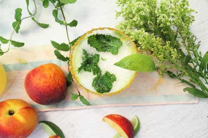 Sparkling Peach Mint Julep overhead single | 2 Cookin Mamas