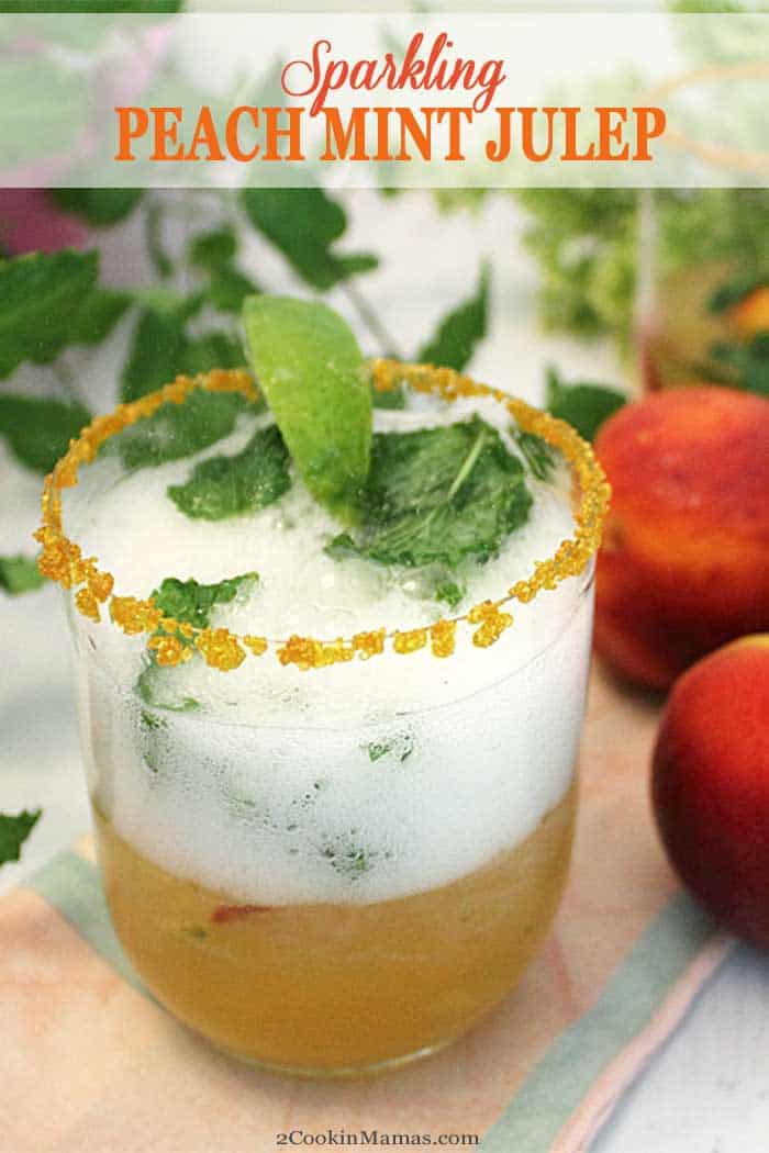Sparkling Peach Mint Julep pin 2 | 2 Cookin Mamas Sparkling Peach Mint Julep is a refreshingly cool summer cocktail with a light, fruity taste. Mint and bourbon are joined by peach schnapps and prosecco to put this drink in a class by itself. #cocktail #summercocktail #drink #mintjulep #peachschnapps #bourbon #prosecco #recipe #easyrecipe