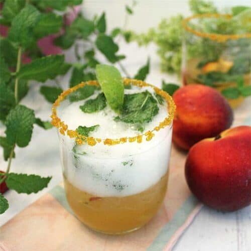 Sparkling Peach Mint Julep square | 2 Cookin Mamas
