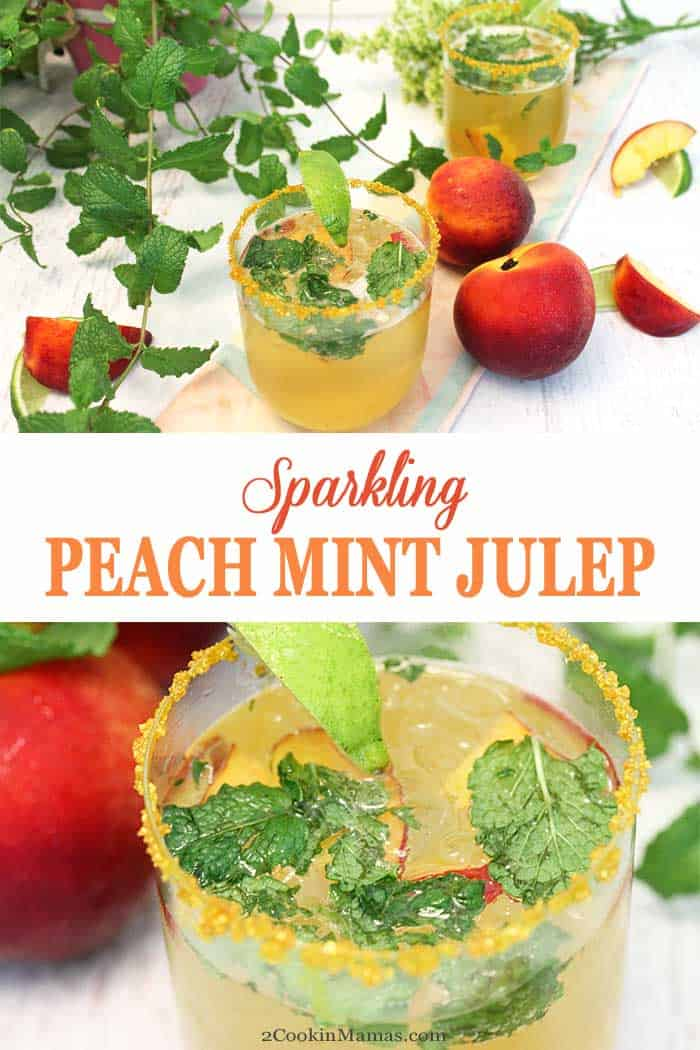 Sparkling Peach Mint Julep | 2 Cookin Mamas Sparkling Peach Mint Julep is a refreshingly cool summer cocktail with a light, fruity taste. Mint and bourbon are joined by peach schnapps and prosecco to put this drink in a class by itself. #cocktail #summercocktail #drink #mintjulep #peachschnapps #bourbon #prosecco #recipe #easyrecipe