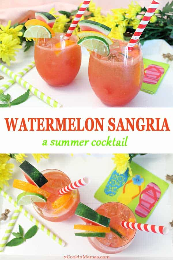Watermelon Sangria Light Summer Cocktail