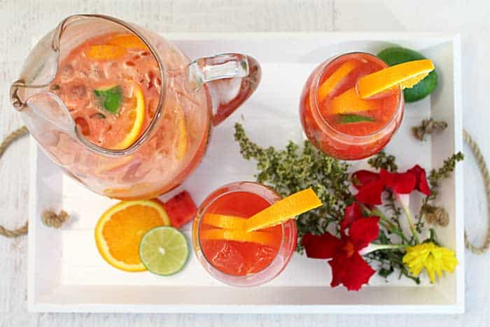 Watermelon Sangria by the pitcherful