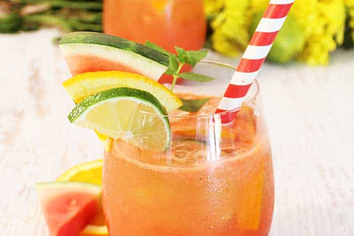 Watermelon Sangria closeup | 2 Cookin Mamas