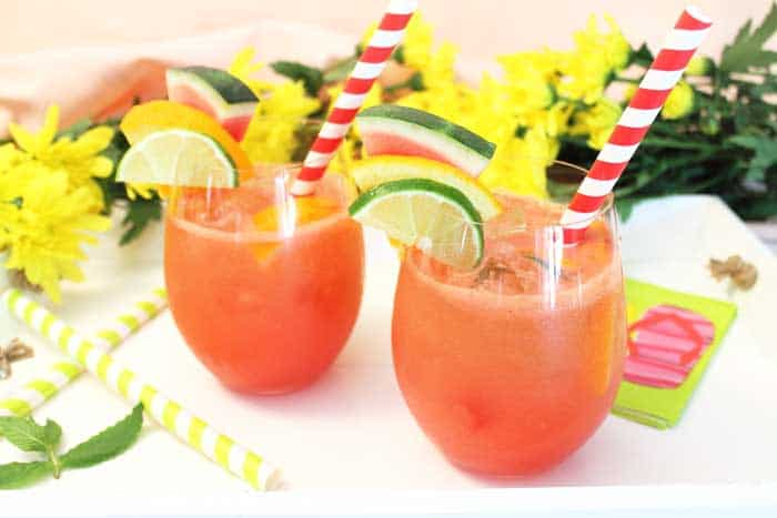 Watermelon Sangria on tray