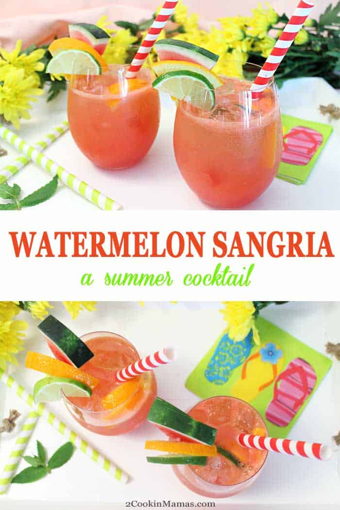 Watermelon Sangria | 2 Cookin Mamas Summer calls for a cool cocktail like this refreshing Watermelon Sangria! Just blend watermelon, limes, oranges & wine, then sit back and say ah! Perfect for backyard BBQs and 4th of July picnics. summer #cocktail #wine #watermelon #drink #recipe #easyrecipe #summercocktail #4thofJuly