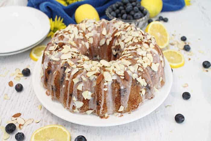 Blueberry Almond Bundt Cake finished cake