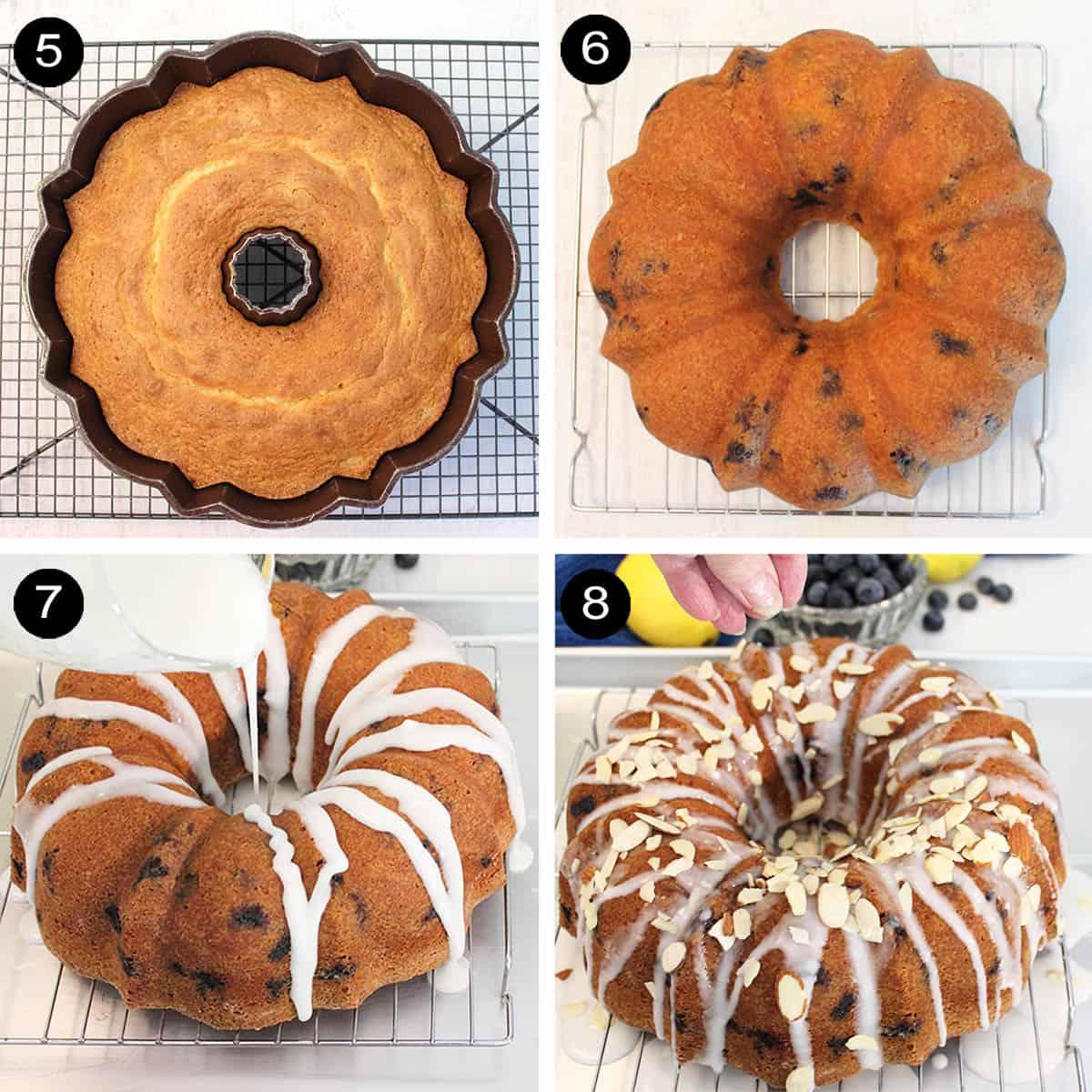 Steps 5-8 baked cake and inverting on rack then applying lemon glaze.
