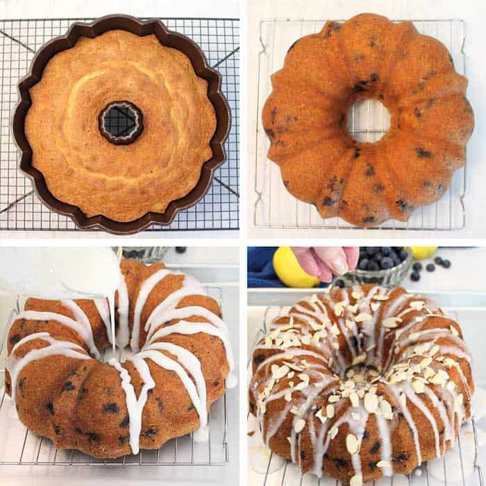Blueberry Almond Bundt Cake finishing steps