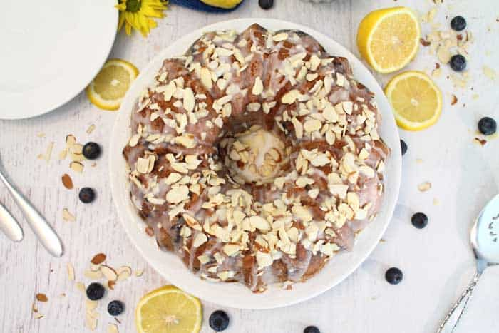 Blueberry Almond Bundt Cake overhead