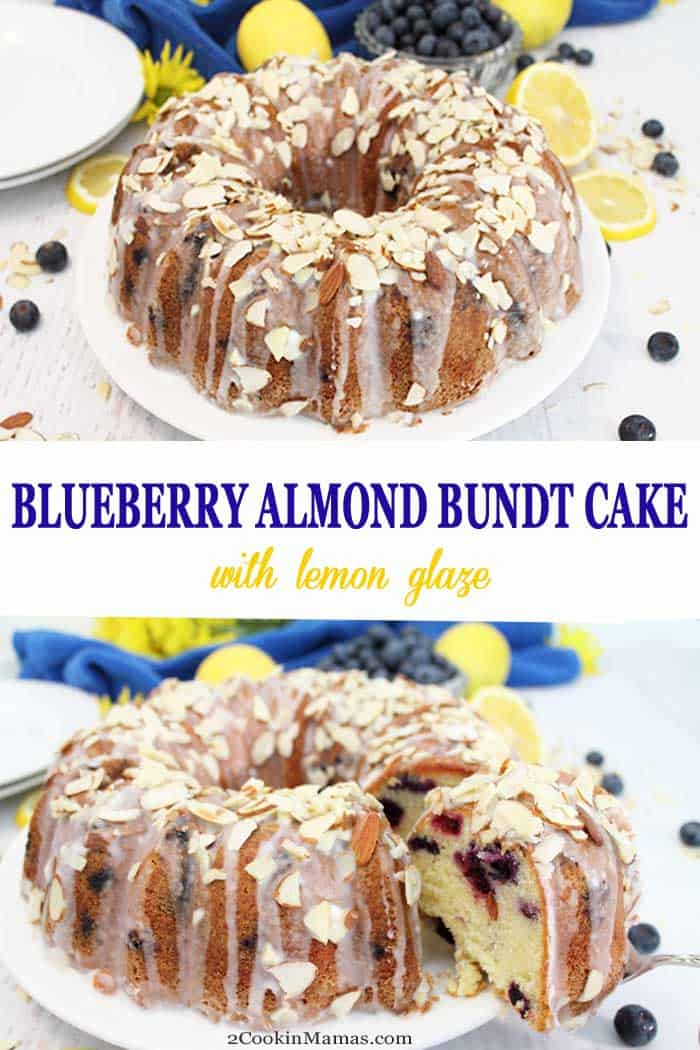 Blueberry Almond Bundt Cake | 2 Cookin Mamas This Blueberry Almond Bundt Cake is a rich, dense cream cheese cake flavored with almond and loaded with fresh blueberries. It's kicked up a notch with a drizzle of lemon glaze & a sprinkling of almonds. Delicious recipe for dessert or even breakfast! #cake #blueberrycake #bundtcake #almonds #blueberries #breakfast #dessert #recipe