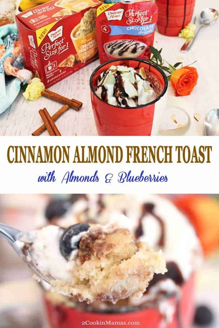 An easy to make Cinnamon Almond French Toast that's perfect for one and ready in about 1 minute. Start with a Duncan Hines new convenient Perfect Size for 1 cake mix and add your own flavor and toppings. Perfect for a delicious breakfast, an after school snack or a warm late night dessert. #breakfast #frenchtoast #cake #dessert #easyrecipe #snack #microwavecake #ad @RealDuncanHines