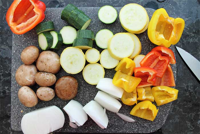 Vegetable Skewers prep