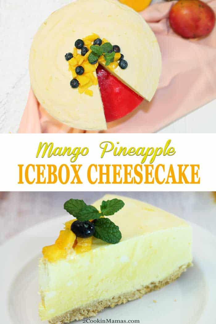 Mango Pineapple Icebox Cheesecake | 2 Cookin Mamas Cool off this summer with a sweet & creamy Mango Pineapple Icebox Cheesecake. Reminiscent of a mango-flavored pina colada, this frozen no-bake dessert is a decadent mixture of cream cheese, fresh mango and pineapple, a touch of rum and plenty of whipped cream. Oh, it's so good! #dessert #nobake #iceboxcheesecake #cheesecake #mango #pineapple #pinacolada #recipe #summerdessert #frozendessert