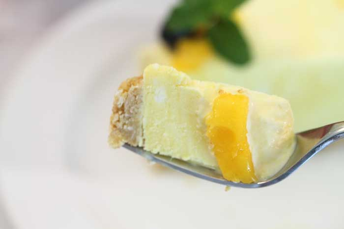 Mango Pineapple Icebox Cheesecake bite