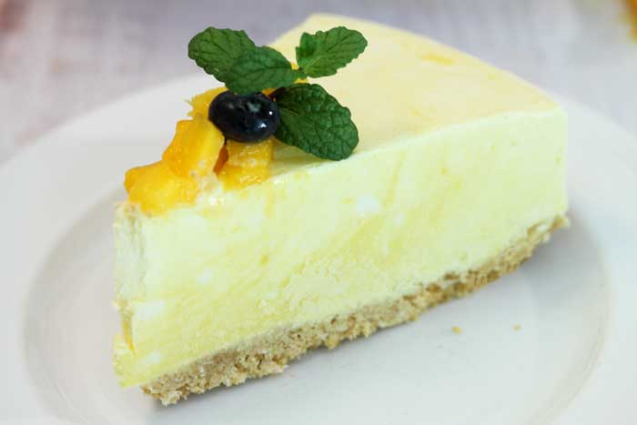 Mango Pineapple Icebox Cheesecake slice