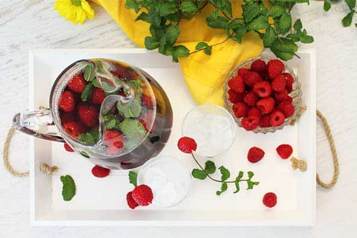 Raspberry Mint Iced Tea overhead