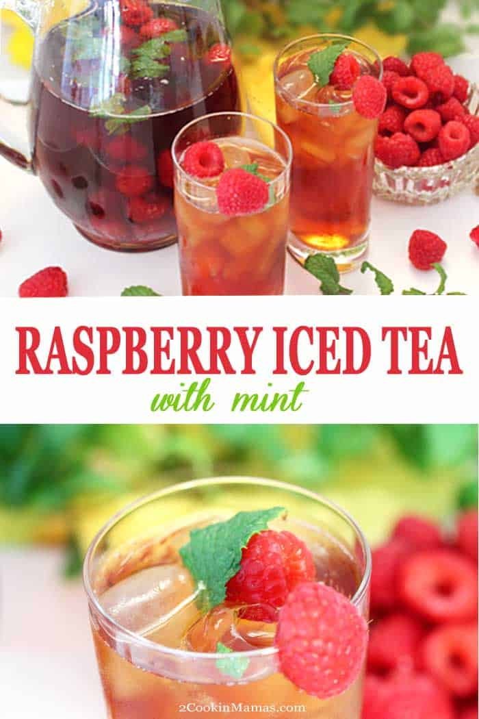 Raspberry Mint Iced Tea | 2 Cookin Mamas This Raspberry Mint Iced Tea recipe takes your favorite summertime refreshment up a notch. Juicy raspberries and savory mint leaves are added to fresh brewed tea to impart a sweet berry flavor with a touch of mint to classic iced tea. It's a tastier and healthier way to quench your thirst. #icedtea #beverage #summerdrink #raspberry tea #raspberries #mint #tea #drink #recipe