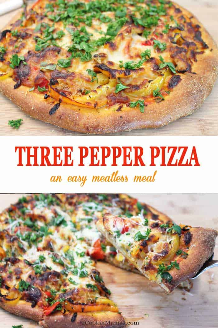 Three Pepper Pizza | 2 Cookin Mamas This Three Pepper Pizza is the go-to dinner for Meatless Monday. All you need is store-bought pizza dough,  red, orange and yellow bell peppers, onion, garlic, spices and mozzarella cheese to enjoy a slice of heaven! Believe it or not, no pizza sauce needed! #pizza #dinner #meatlessmeal #peppers #mozzarella #recipe
