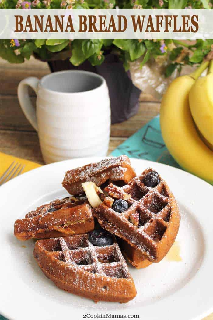 Banana Bread Waffles main | 2 Cookin Mamas Banana Bread Waffles are the perfect breakfast for banana bread lovers. They take just minutes to make and the favorite taste of bananas and cinnamon will make you think you're eating a warm slice of banana bread. Top with butter and maple syrup for a sweet start to any day. #waffles #breakfast #bananabread #recipe