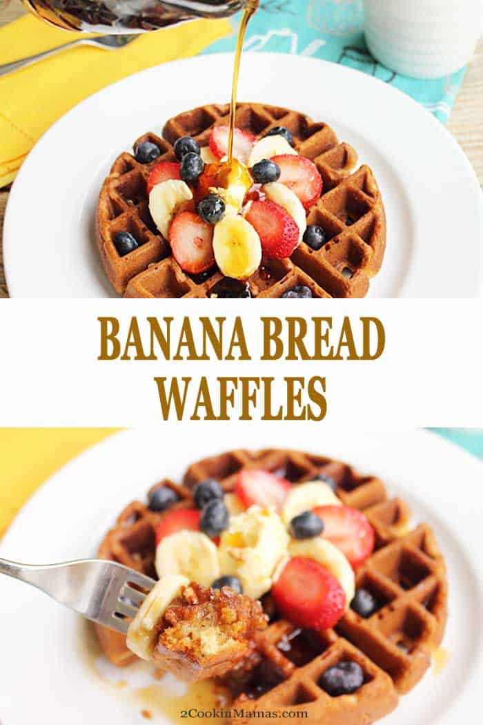 Photo 1: pouring syrup over browned waffle / Photo 2: taking a bite of waffle along with a banana slice.