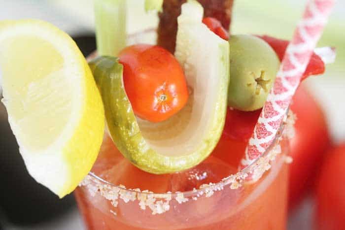 Bloody Maria with Bourbon Candied Bacon closeup wide