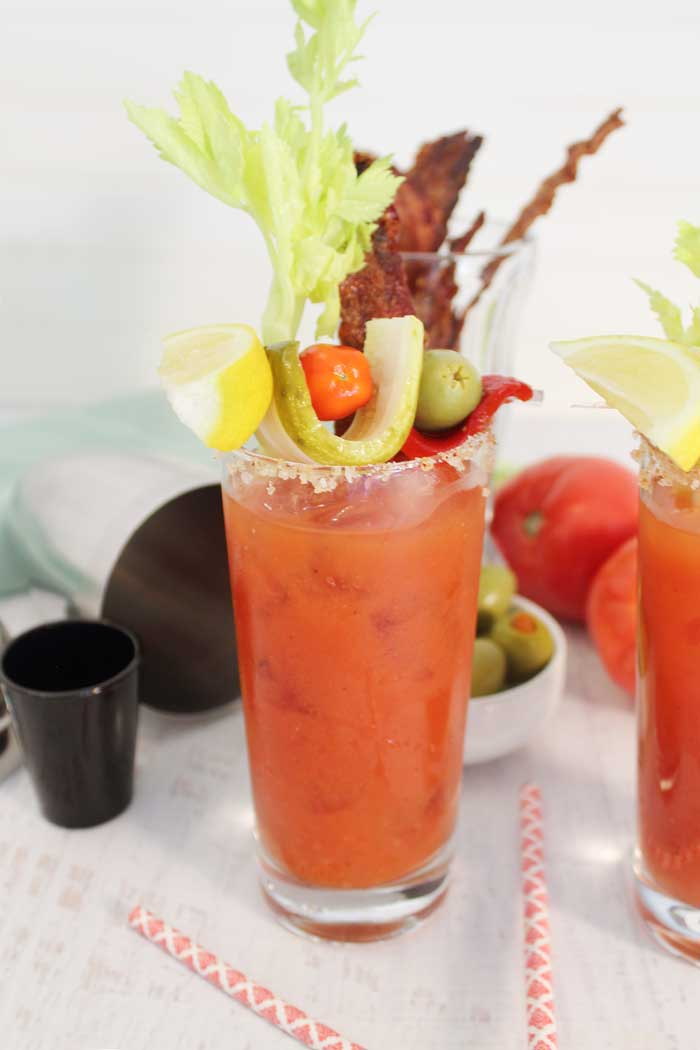 Bloody Maria with Bourbon Candied Bacon single tall