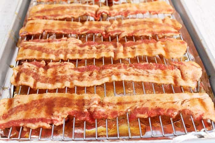 Bourbon Candied Bacon dipped in glaze