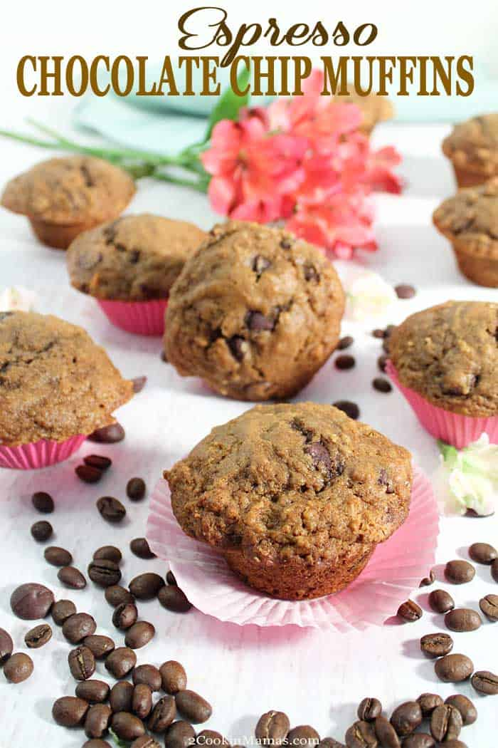 Espresso Chocolate Chip Muffins 2 | 2 Cookin Mamas These  bakery-style Espresso Chocolate Chips Muffins are moist, dense and rich with a distinct coffee taste. That smooth espresso flavor combines perfectly with the sweet chocolate chips to make these muffins the perfect breakfast or afternoon snack for coffee lovers. #muffins #espresso #coffee #chocolatechips #baking #breakfast #snack #recipe