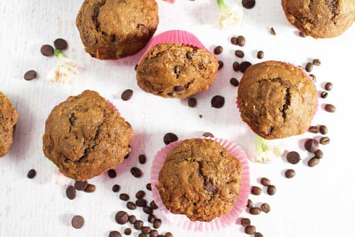 Espresso Chocolate Chip Muffins overhead
