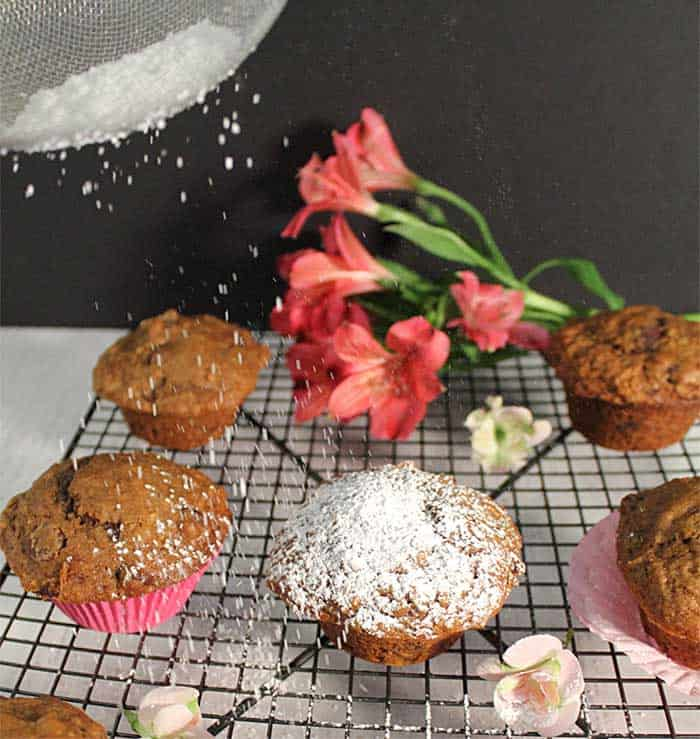Espresso Chocolate Chip Muffins sprinkling powdered sugar
