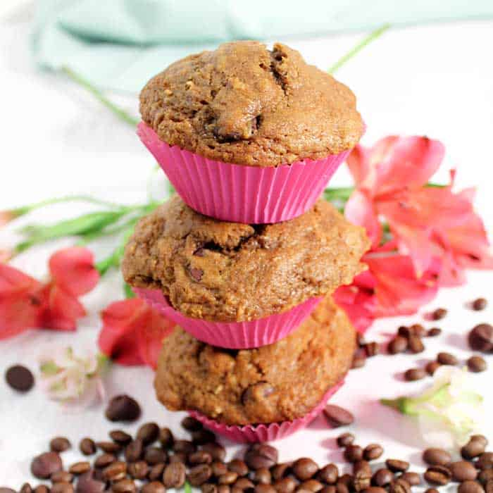 Espresso Chocolate Chip Muffins stack square