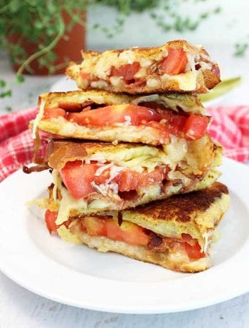 Gourmet Grilled Cheese Sandwich stacked square