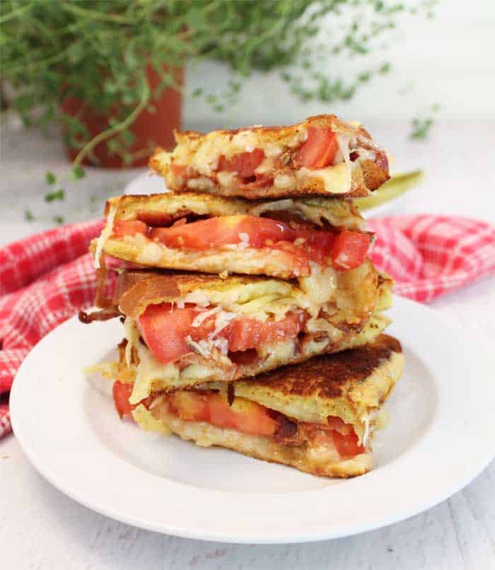 Gourmet Grilled Cheese Sandwich stacked