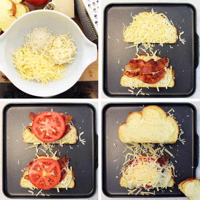 6 steps to make grilled cheese including mixture of shredded cheeses and piling on bacon and tomatoes.