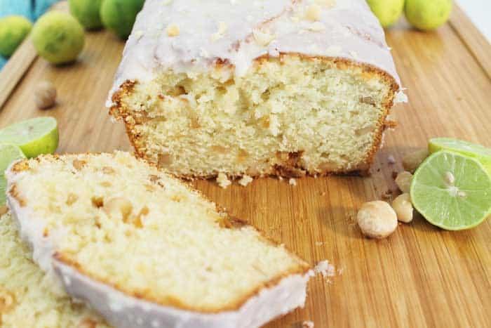 Key Lime White Chocolate Macadamia Bread closeup of inside