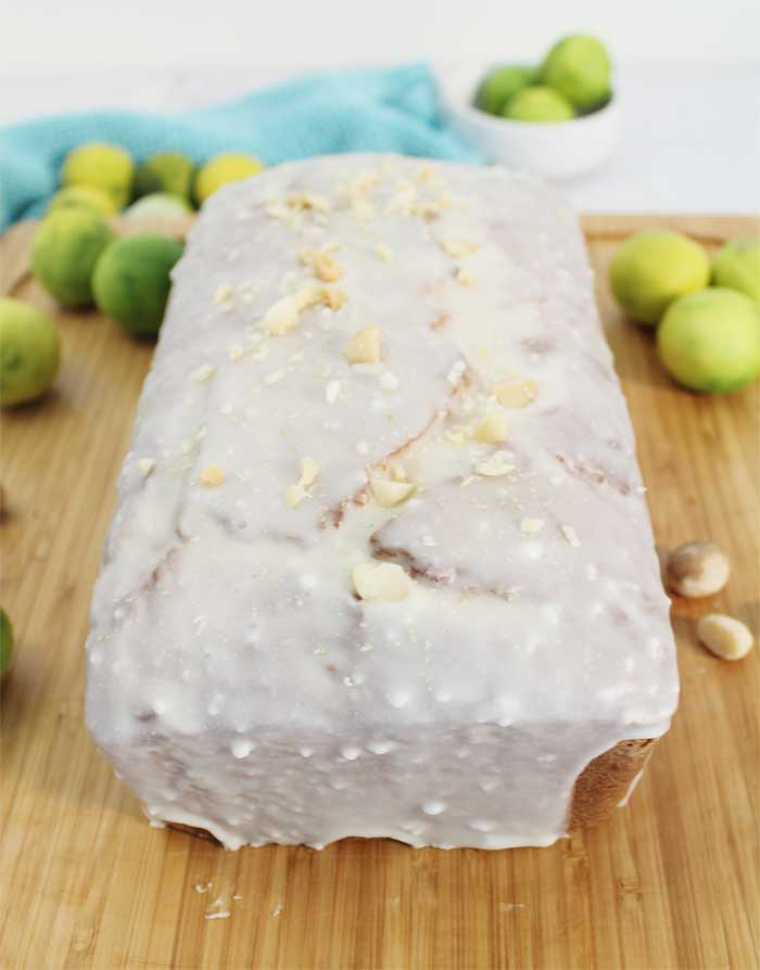 Key Lime White Chocolate Macadamia Bread fully glazed