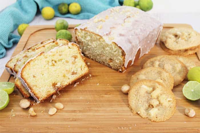 Key Lime White Chocolate Macadamia Bread with cookies