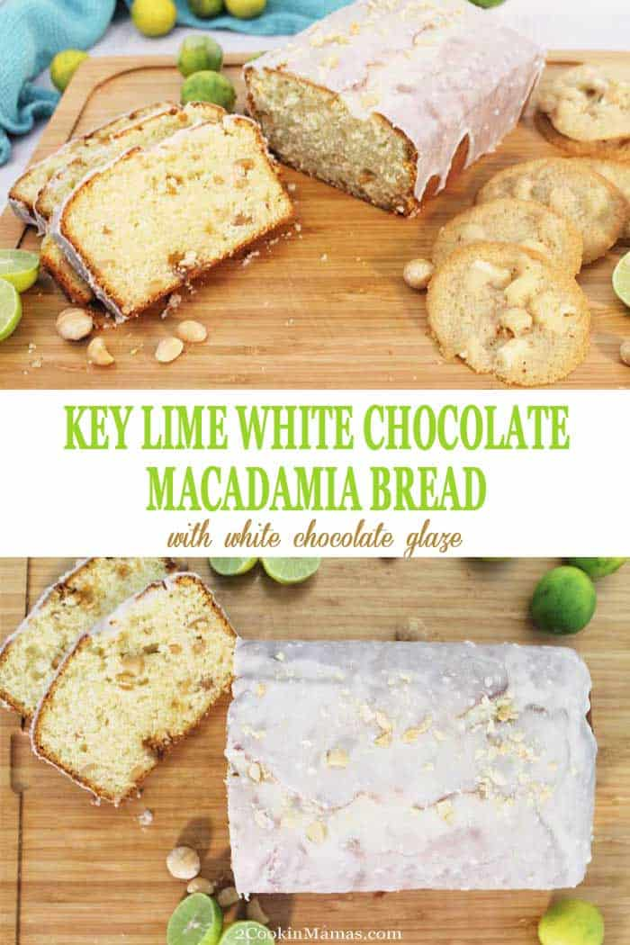 Key Lime White Chocolate Macadamia Bread | 2 Cookin Mamas Key Lime White Chocolate Macadamia Bread is the perfect quick bread for summer. Zesty key limes flavor a moist, tender pound cake-like bread filled with bits of white chocolate and chunks of salty macadamia nuts. Covered with a glaze of rich white chocolate, it not only makes the perfect breakfast treat but a tasty dessert as well! #bread #quickbread #keylime #whitechocolate #macadamianuts #breakfast #dessert #lime #recipe
