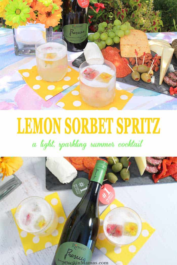 Lemon Sorbet Spritz | 2 Cookin Mamas A light refreshing summer cocktail for everyday enjoyment. Prosecco & sparkling water give this cocktail with a vodka twist just the right amount of effervescence while the lemon sorbet ice cubes chill it to the perfect temperature. Great for backyard BBQs, picnics, happy hours and sipping oceanside. #ad #RiondoProsecco #nationalproseccoday #ItalianForsummer #riondococktail #cocktail #summer #recipe #prosecco #sorbet