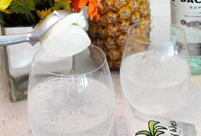 Malibu Pineapple Sgroppino dropping in sorbet