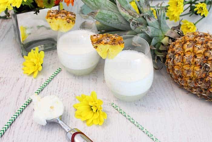 Malibu Pineapple Sgroppino with sorbet scoop
