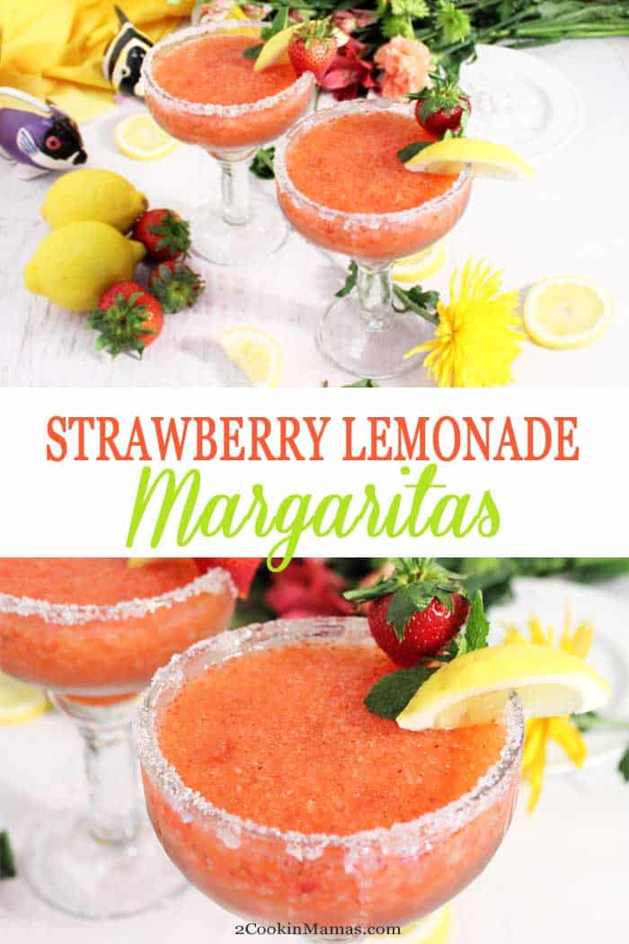 Strawberry Lemonade Margaritas | 2 Cookin Mamas Strawberry Lemonade Margaritas are a refreshing summer take on your standard margarita.  They combine all the flavors of summertime, tart lemons and sweet, juicy strawberries with the always popular margarita for a quick and easy adult cocktail. #cocktail #margarita #lemonade #strawberries #recipe #summerdrink