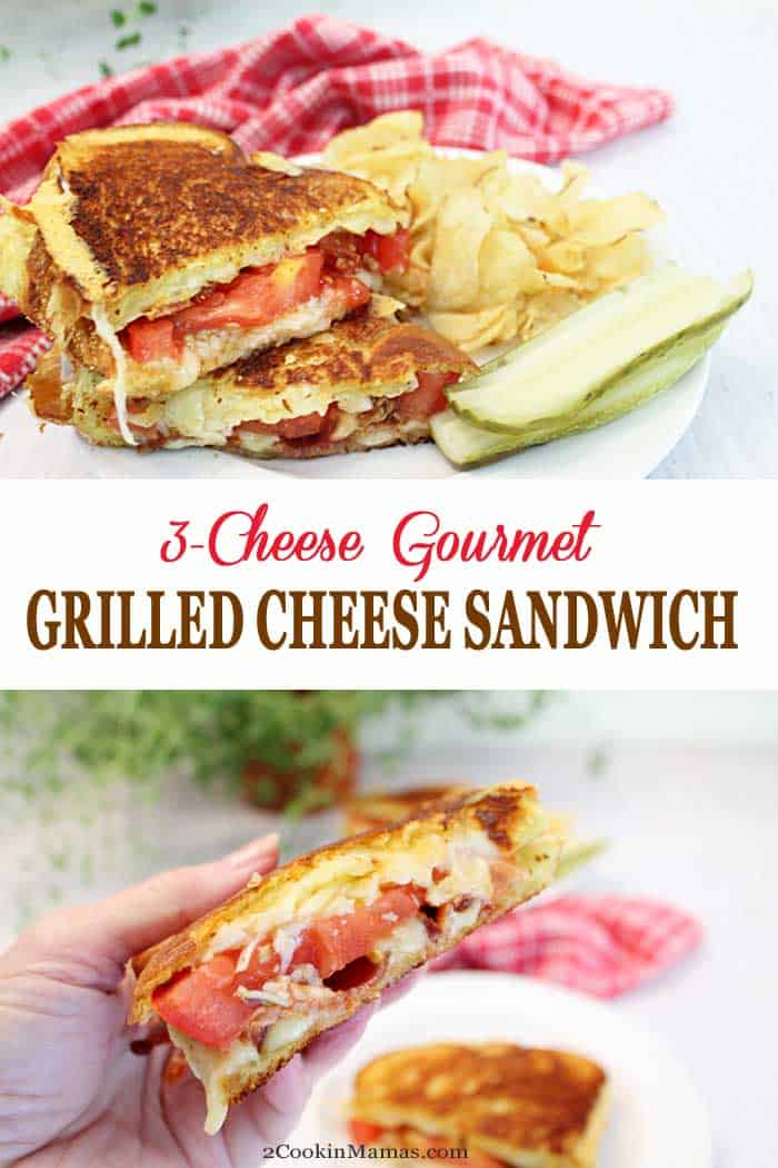 A combination of 3 cheeses brings the classic grilled cheese to a whole new level. This gourmet grilled cheese sandwich with bacon, tomato & a rub of roasted garlic is so delicious you'll never go back. #sandwich #grilledcheese #bacon #lunch #recipe #cheese #roastedgarlic